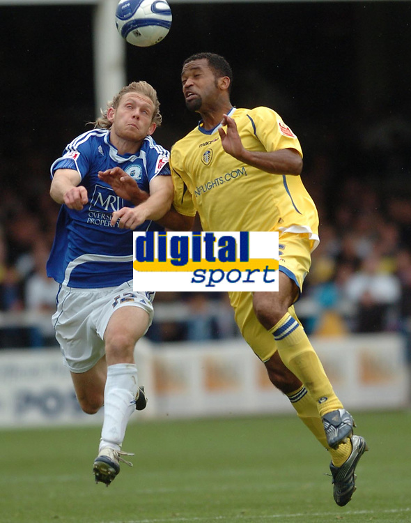 Photo:Tony Oudot/Richard Lane Photography. Peterborough United v Leeds United. Coca-Cola Football League One. 04/10/2008. Craig Mackail-Smith of Peterborough with Rui Marques of Leeds.