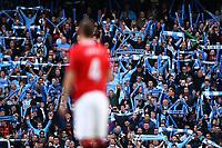Football - Premier League - Manchester City vs. Manchester United<br /> Manchester City fans cheer before kick at the Etihad Stadium