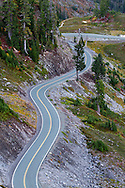 The Mount Baker Highway (SR 542) winds towards Artist Point in the Mount Baker-Snoqualmie National Forest, Washington State, USA