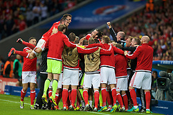 LILLE, FRANCE - Friday, July 1, 2016: Wales players celebrate the first goal against Belgium during the UEFA Euro 2016 Championship Quarter-Final match at the Stade Pierre Mauroy. (Pic by Paul Greenwood/Propaganda)