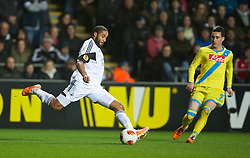 SWANSEA, WALES - Thursday, February 20, 2014: Swansea City's captain Ashley Williams in action against SSC Napoli during the UEFA Europa League Round of 32 1st Leg match at the Liberty Stadium. (Pic by David Rawcliffe/Propaganda)