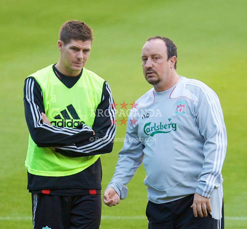 LIEGE, BELGIUM - Tuesday, August 12, 2008: Liverpool's manager Rafael Benitez and captain Steven Gerrard MBE during a training session ahead of the UEFA Champions League 3rd Qualifying Round match against Royal Standard de Lie?ge at the Stade Maurice Dufrasne. (Photo by David Rawcliffe/Propaganda)
