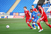 Peterborough United midfielder Siriki Dembele (10) gets crowded out during the EFL Sky Bet League 1 match between Peterborough United and Accrington Stanley at London Road, Peterborough, England on 20 October 2018.