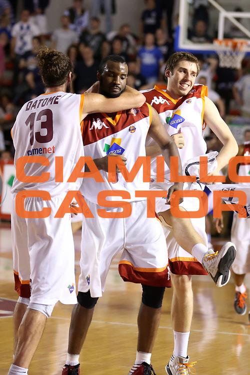 DESCRIZIONE : Roma Lega A 2012-2013 Acea Roma Lenovo Cant&ugrave; playoff semifinale gara 2<br /> GIOCATORE : Gani Lawal Luigi Datome Aleksander Czyz<br /> CATEGORIA : esultanza<br /> SQUADRA : Acea Roma<br /> EVENTO : Campionato Lega A 2012-2013 playoff semifinale gara 2<br /> GARA : Acea Roma Lenovo Cant&ugrave;<br /> DATA : 27/05/2013<br /> SPORT : Pallacanestro <br /> AUTORE : Agenzia Ciamillo-Castoria/ElioCastoria<br /> Galleria : Lega Basket A 2012-2013  <br /> Fotonotizia : Roma Lega A 2012-2013 Acea Roma Lenovo Cant&ugrave; playoff semifinale gara 2<br /> Predefinita :