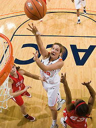 Virginia forward Chelsea Shine (50) shoots over St. Francis (PA) guard Quinessa Johnson (23).  The #15 ranked Virginia Cavaliers defeated the St. Francis (Pa.) Red Flash 82-66 in NCAA Women's Basketball at the John Paul Jones Arena on the Grounds of the University of Virginia in Charlottesville, VA on January 5, 2009.