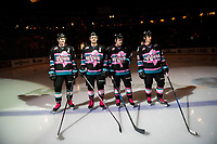 KELOWNA, CANADA - NOVEMBER 3: Kaedan Korczak #6, Erik Gardiner #11, Kyle Topping #24 and Leif Mattson #28 of the Kelowna Rockets line up against the Brandon Wheat Kings on November 3, 2018 at Prospera Place in Kelowna, British Columbia, Canada.  (Photo by Marissa Baecker/Shoot the Breeze)
