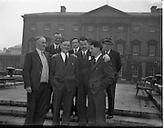 Mr G. Sweetman (TD) (with white kerchief) - Fine Gael Chief Whip Welcomes Two New Deputies.10/03/1954