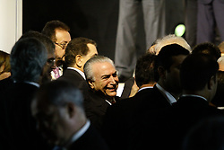 May 30, 2017 - Sao Paulo, Brazil - Michel Temer, president of Brazil, center, speaks with attendees during the Brazil Investment Forum 2017 in Sao Paulo, Brazil, on Tuesday, May 30, 2017. The Brazil Investment Forum 2017 gathers political, business, academic and media leaders to foster new business and investment opportunities in Brazil. (Credit Image: © Fotorua/NurPhoto via ZUMA Press)