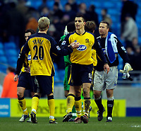 Photo: Jed Wee.<br />Manchester City v Wigan Athletic. The Barclays Premiership. 18/03/2006.<br /><br />Wigan's Paul Scharner (R) celebrates with Gary Teale at the final whistle.