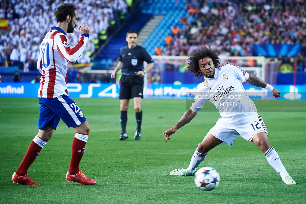 Marcelo (Real Madrid F.C.) in action during the Champions League, round of 4 match between Atletico de Madrid and Real Madrid at Estadio Vicente Calderon on April 14, 2015 in Madrid, Spain