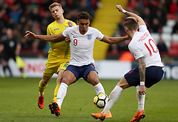 England U21's Dominic Calvert-Lewin (centre) and James Maddison (right) battle with Ukraine U21's Pavlo Lukyanchuk during the UEFA European U21 Championship Qualifying, Group 4 match at Bramall Lane, Sheffield.