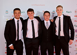 LIVERPOOL, ENGLAND - Tuesday, May 9, 2017: Liverpool Academy players Tom Brewitt, Matthew Virtue, Liam Coyle, Caoimhin Kelleher arrive on the red carpet for the Liverpool FC Players' Awards 2017 at Anfield. (Pic by David Rawcliffe/Propaganda)