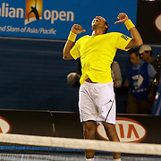 Jo-Wilfried Tsonga of France during his victory over James Blake of the USA at the Australian Tennis Open on January 26, 2009 in Melbourne, Australia. Photo Tim Clayton    .