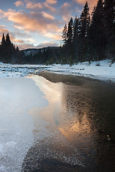 """Icy Truckee River 1"" - Photograph of a partially iced over Truckee River at sunrise."