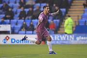 GOAL Jordan Williams celebrates making the score 1-2 during the EFL Sky Bet League 1 match between Shrewsbury Town and Rochdale at Greenhous Meadow, Shrewsbury, England on 17 November 2018.