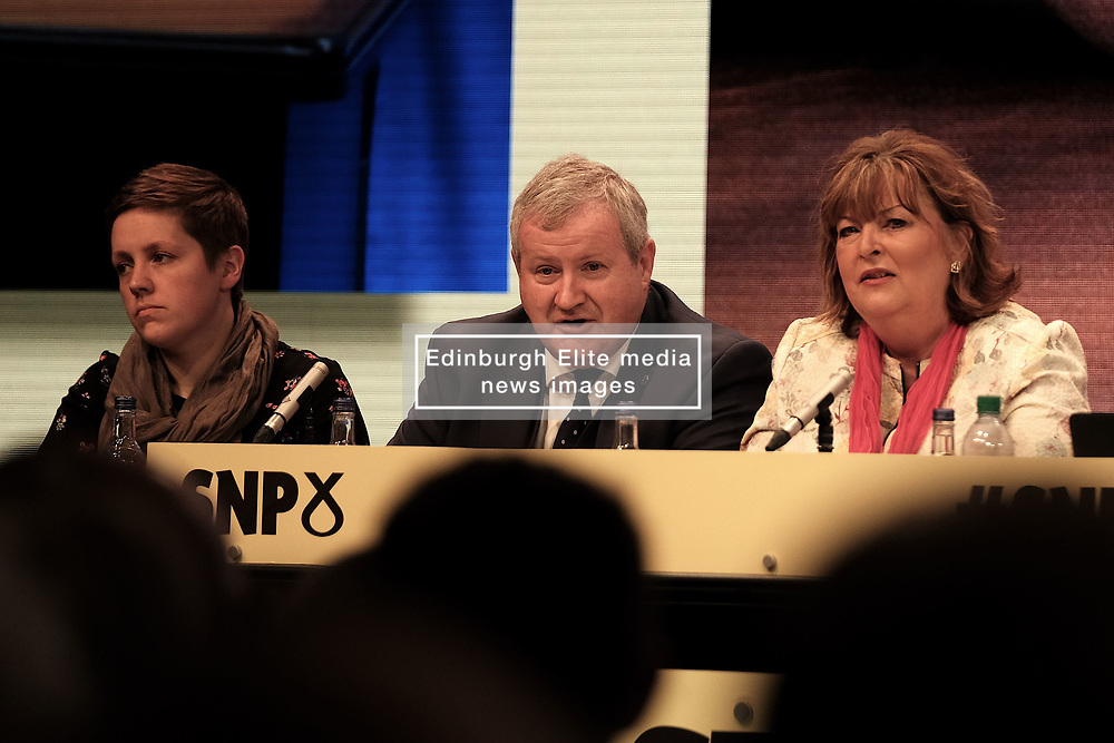 SNP Spring Conference, Sunday 28th April 2019<br /> <br /> Pictured: (l to r) Kirsty Blackman MP, Ian Blackford MP, leader of the SNP group at Westminster, and Fiona Hyslop MSP<br /> <br /> Alex Todd | Edinburgh Elite media