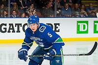 KELOWNA, BC - SEPTEMBER 29: Derrick Pouliot #5 of the Vancouver Canucks skates against the Arizona Coyotes  at Prospera Place on September 29, 2018 in Kelowna, Canada. (Photo by Marissa Baecker/NHLI via Getty Images)  *** Local Caption *** Derrick Pouliot