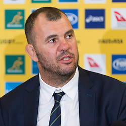 Michael Cheika, Coach of Australia talks to media