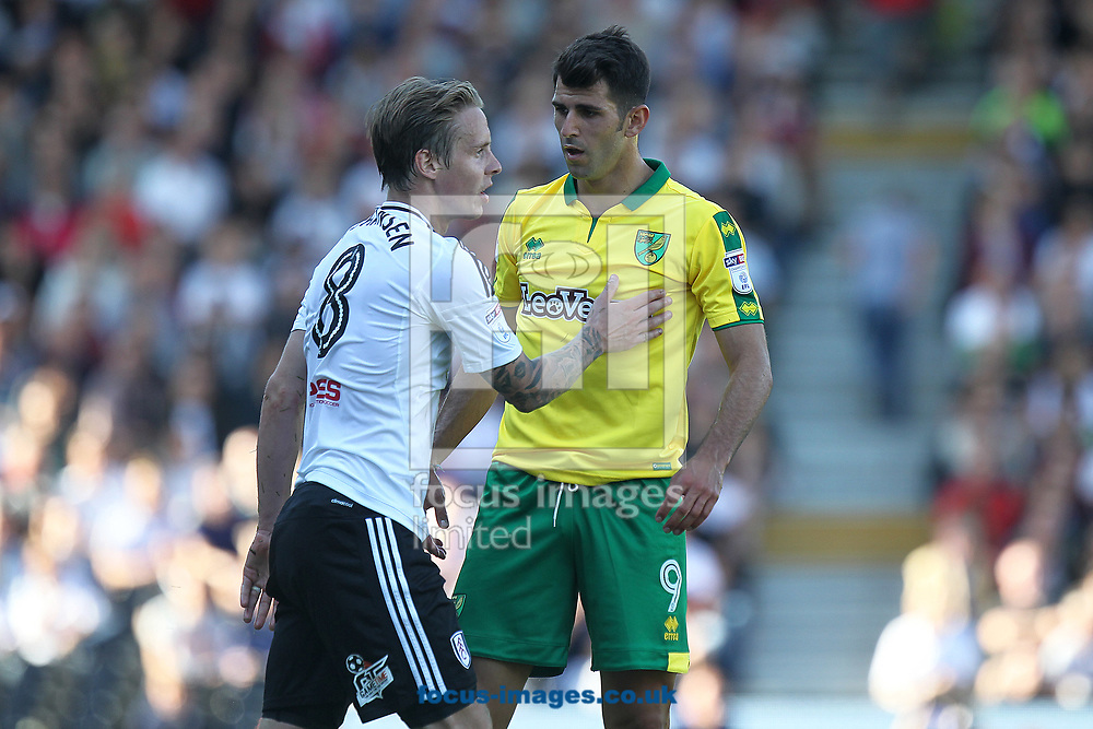 Nelson Oliveira of Norwich makes his point to Stefan Johansen of Fulham during the Sky Bet Championship match at Craven Cottage, London<br /> Picture by Paul Chesterton/Focus Images Ltd +44 7904 640267<br /> 05/08/2017