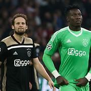 NLD/Amsterdam/20181023 - Champions Leaguewedstrijd  Ajax - SL Benfica, nr.17 Daley Blind en keeper nr.24 Andre Onana