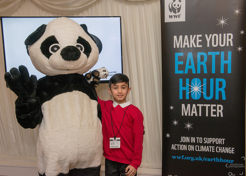 Primary School winners  pose with Panda during the WWF UK Earth Hour 10th Anniversary Parliamentary Reception, Terrace Pavilion, Palace of Westminster. 28th Feb. 2017
