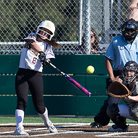 (Photograph by Bill Gerth/ for SVCN/ 3/14/17) Monta Vista #8 Aly Olkein connects for a hit vs Branham in a pre season girls varsity softball game at Monta Vista High School, Cupertino CA on 3/14/17. (Monta Vista 7 Branham 3)