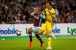 Sofiane Feghouli of West Ham and Kenan Horic of NK Domzale during 2nd Leg football match between West Ham United FC and NK Domzale in 3rd Qualifying Round of UEFA Europa league 2016/17 Qualifications, on August 4, 2016 in London, England.  Photo by Ziga Zupan / Sportida