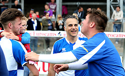 Wael Al-Qadi president of Bristol Rovers FC chats with some of his teammates from the Bristol Fan Derby - Mandatory by-line: Robbie Stephenson/JMP - 04/09/2016 - FOOTBALL - Memorial Stadium - Bristol, England - Bristol Rovers Fans v Bristol City Fans - Bristol Fan Derby