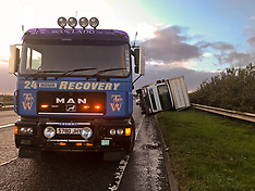 Lorry overturned by Storm Ali; A1, 19 September 2018