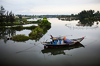 A boat on a river in Hoi An, Vietnam.