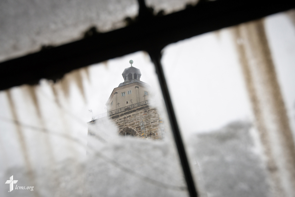 A view of the Stadtkirche as seen from a window in the attic of the Old Latin School on Wednesday, Jan. 29, 2014, in Wittenberg, Germany. LCMS Communications/Erik M. Lunsford