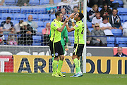 Brighton winger, Jamie Murphy scores and celebrates with Brighton defender, full back, Liam Rosenior who provided the assist during the Sky Bet Championship match between Bolton Wanderers and Brighton and Hove Albion at the Macron Stadium, Bolton, England on 26 September 2015.
