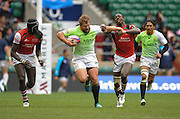 LONDON, ENGLAND - Sunday 11 May 2014, Frankie Horne of South Africa charges ahead during the Plate final match between South Africa and Kenya at the Marriott London Sevens rugby tournament being held at Twickenham Rugby Stadium in London as part of the HSBC Sevens World Series.<br /> Photo by Roger Sedres/ImageSA