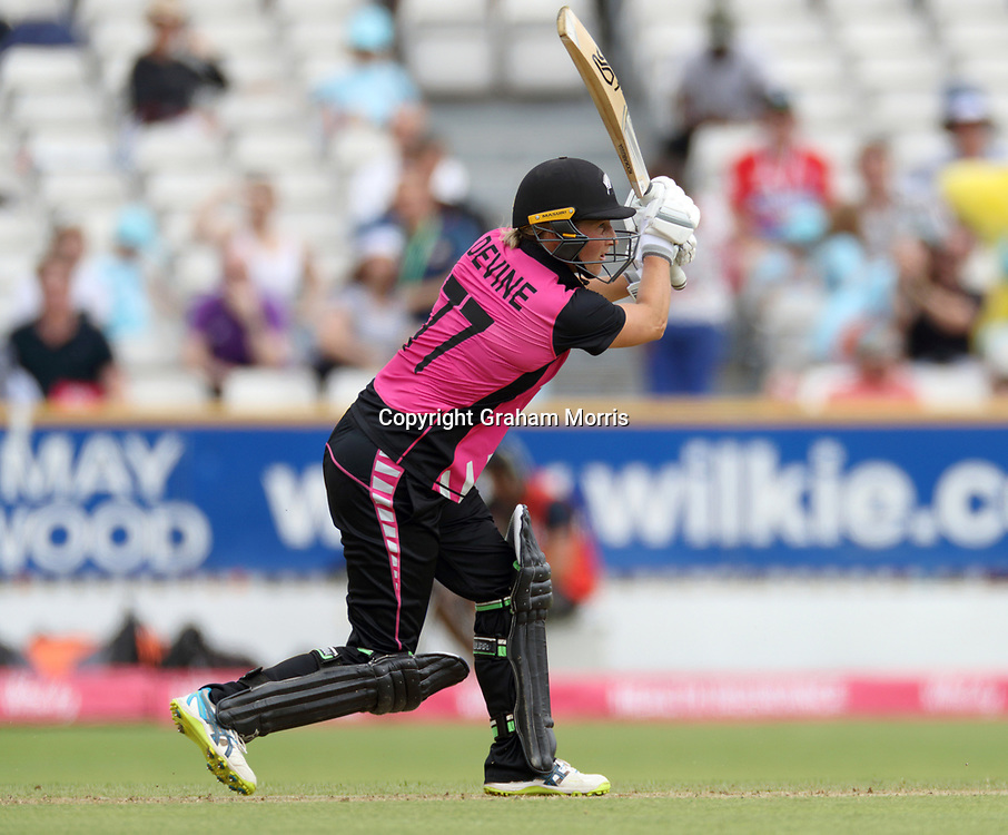 Sophie Devine bats during their century partnership in the T20I between the White Ferns and South Africa Women at the County Ground, Taunton. Photo: Graham Morris/www.photosport.nz 20/06/18