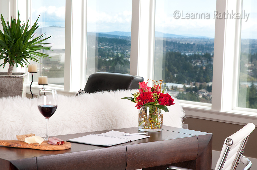A view overlooking Victoria spans the range from Cordova Bay to the USA from a contemporary home in Langford, near Victoria BC