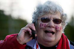 Olympic Winter Games Vancouver 2010 - Olympische Winter Spiele Vancouver 2010, Snowboard (Ladies' Snowboard Cross), Nancy Ricker calls friends and family to share the news of Maelle Ricker's gold medal run during the women's snowboard cross at the 2010 Winter Olympics in Cypress, British Columbia, on Tuesday, Feb. 16, 2010.  *** Photo by newsport / HOCH ZWEI / SPORTIDA.com.