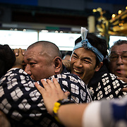 TOKYO, JAPAN - MAY 20: The residents of Asakusa band together to carry a 'mikoshi' (portable shrines) while they chant together during the Sanja Festival in Asakusa, Tokyo on May 20, 2017. These mikoshi is carried in the streets of Asakusa to bring luck, blessings and prosperity to the area and its inhabitants. (Photo: Richard Atrero de Guzman/NUR Photo)