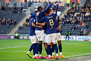 Brentford Celebrate as Ollie Watkins of Brentford makes it 1-3 during the EFL Sky Bet Championship match between Hull City and Brentford at the KCOM Stadium, Kingston upon Hull, England on 1 February 2020.