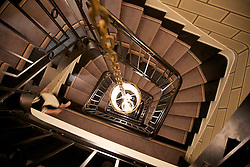 Elevated view of spiral staircase in a Parisian hotel