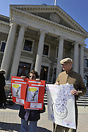 """""""We the People Save our Waters Coalition"""" holds rally to stop the long-term lease of our Sewage Treatment Plants. At Nassau County Legislative Building, Mineola, New York, USA, on February 27, 2012."""