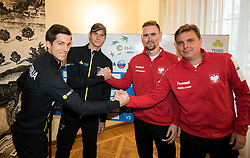 Aljaz Bedene and Blaz Rola of Slovenia with Mateusz Kowalczyk and Marcin Matkowski  of Poland during Official Draw of Davis Cup 2018 tournament between National teams of Slovenia and Poland, on February 2, 2018 in Mestna hisa - Mariborski Rotovz, Maribor, Slovenia. Photo by Rene Gomolj / Sportida