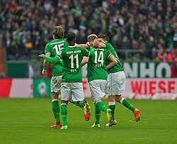 15.03.2014, Weserstadion, Bremen, GER, 1. FBL, SV Werder Bremen vs VfB Stuttgart, 25. Runde, im Bild feiernde Bremer um den Torschuetzen Aaron Hunt (Bremen #14) // feiernde Bremer um den Torschuetzen Aaron Hunt (Bremen #14) during the German Bundesliga 25th round match between SV Werder Bremen and VfB Stuttgart at the Weserstadion in Bremen, Germany on 2014/03/16. EXPA Pictures © 2014, PhotoCredit: EXPA/ Andreas Gumz<br /> <br /> *****ATTENTION - OUT of GER*****