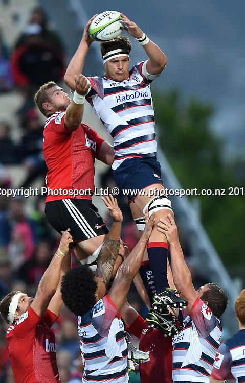Rebels lock Luke Jones. Crusaders v Rebels. Super Rugby. Christchurch, New Zealand. Friday 13 February 2015. Copyright Photo: Andrew Cornaga / www.photosport.co.nz