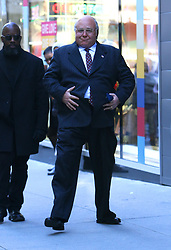 """Russell Crowe gets playful for the cameras with his prosthetic belly and is seen on a public phone booth for a scene while filming """"The Loudest Voice"""" in Manhattan's Times Square. 08 Nov 2018 Pictured: Russell Crowe. Photo credit: LRNYC / MEGA TheMegaAgency.com +1 888 505 6342"""