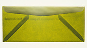 Still life of a green transparent envelope