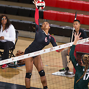 27 August 2016: The San Diego State Aztecs took on the Michigan State Spartans in game two of the Aztec Invitational at Peterson Gym on the campus of SDSU. OH Ashlynn Dunbar (6) spikes the ball in the second set against the Spartan defense. The Aztecs lost 3-1 to the Spartans. www.sdsuaztecphotos.com