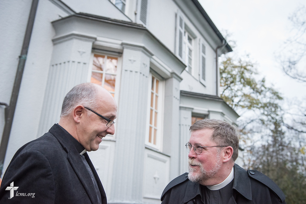 SELK Bishop Hans-Jörg Voigt chats with the Rev. James Krikava, OIM regional director for Eurasia, outside the SELK headquarters following a planning meeting on Thursday, Nov. 12, 2015, in Hannover, Germany. LCMS Communications/Erik M. Lunsford