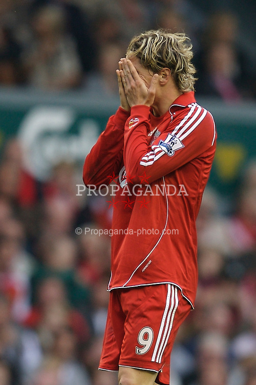 Liverpool, England - Sunday, October 7, 2007: Liverpool's Fernando Torres looks dejected after missing a chance against Tottenham Hotspur during the Premiership match at Anfield. (Photo by David Rawcliffe/Propaganda)