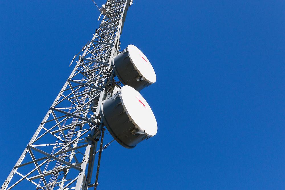 microwave parabolic dish antenna radio link on lattice tower in Tara, Queensland, Australia