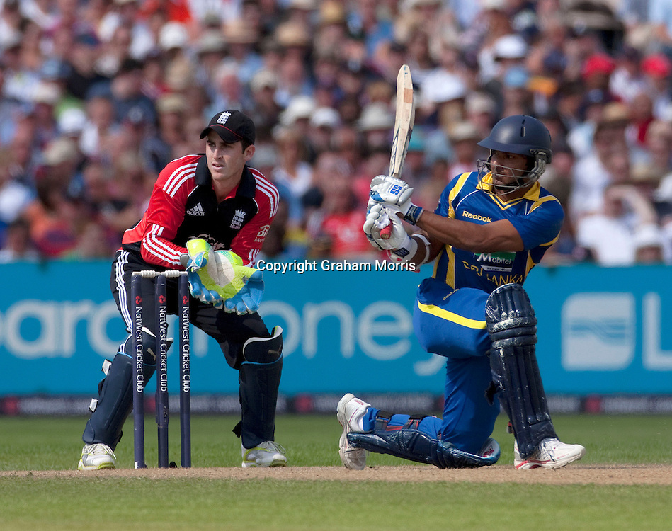 Kumar Sangakkara bats during the fifth and final one day international between England and Sri Lanka at Old Trafford, Manchester. Photo: Graham Morris (Tel: +44(0)20 8969 4192 Email: sales@cricketpix.com) 06/07/11